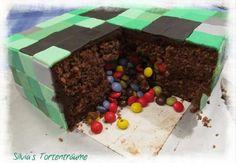 Silvia's Tortenträume: Creeper Kuchen Torte Minecraft Motivtorte Fondant Smarties-Überraschung Steve
