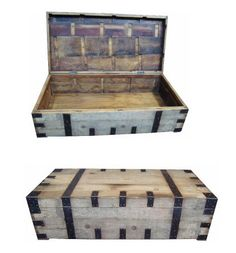 Recycled Elm and Iron Trunk: 161x80x45(H) cm