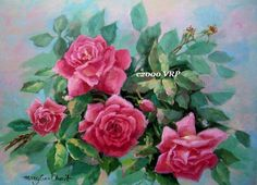 Print FREE SHIP Pink Cabbage Roses CP60 by VictorianRosePrints, $12.99