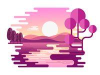 Morning Landscape designed by Hemanta. Connect with them on Dribbble; Flat Design Illustration, Digital Illustration, Design Ios, Posca Art, Minimalist Wallpaper, Sunset Landscape, Illustrations And Posters, Vector Art, Watercolor Art