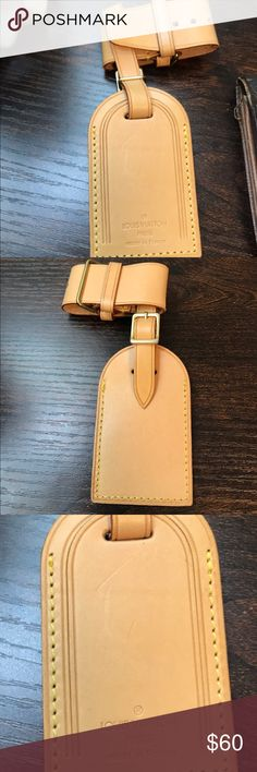 AUTHENTIC Louis Vuitton luggage tag Very light vachetta, in good condition. There are some indentations in the front of the tag. Louis Vuitton Accessories