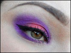 bright purple coral smokey eye make up