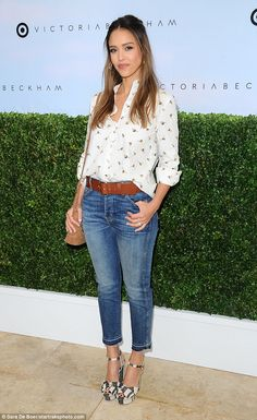 Busy bee: The 35-year-old actress was radiant as she arrived at the Victoria Beckham for T...