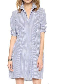 Blue And White Striped Print Dress