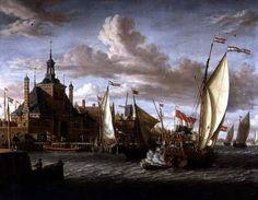 A Zeeland States Yacht Firing a Salute off the Dude Hoofdpoort, Rotterdam