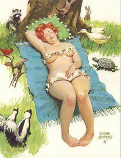 Wall Art Print- Art Reproduction Vintage Sexy Pin-up Girl  Vintage Sexy Plus-size Pin-up Girl Duane Bryers Hilda  No.176