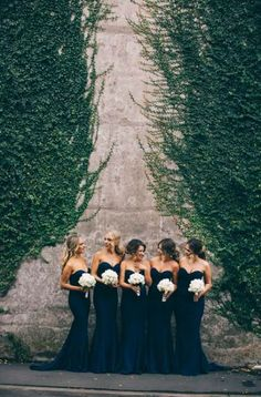 Are you having a navy blue wedding? Then come check out this stunning selection of navy blue bridesmaid dresses that you and your girls will love. Navy Blue Bridesmaid Dresses, Bridesmaids And Groomsmen, Bridesmaid Gowns, Bridesmaid Inspiration, Wedding Inspiration, Wedding Ideas, Wedding Pictures, Wedding Blog, White Wedding Bouquets