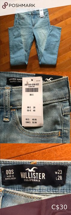 NWT Hollister 00S jeans Brand new Hollister jeans... just ordered them and too small. Oops! Light wash no rips. High Rise Super Skinny light wash.   Size 00S Waist 23 Inseam 28 Hollister Jeans Skinny Hollister Jeans, Jeans Brands, Size 00, First Photo, Super Skinny, Skinny Jeans, Brand New, Best Deals, Pants