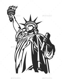 Buy Monochrome American Statue of Liberty Concept by imogi on GraphicRiver. Monochrome American Statue of Liberty concept in vintage style isolated vector illustration Stencil Art, Stencils, Liberty Logo, Monochromatic Paintings, Marquesan Tattoos, Logo Design, Graphic Design, Silhouette Art, Statue Of Liberty
