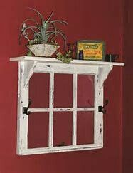 20 Super Easy DIY Ideas For Creating Amazing Shelves this old window frame topped by a shelf would be great to frame a quilt scrap or black and white family photos Antique Windows, Vintage Windows, Wood Windows, Rustic Windows, Reclaimed Windows, Old Barn Windows, Decorative Windows, Patio Windows, Recycled Windows