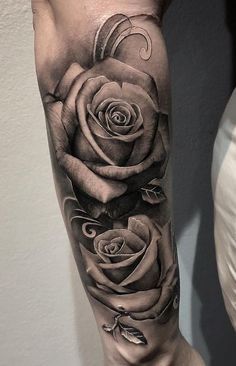 Black And White Rose Tattoo, White Rose Tattoos, Rose Tattoos For Women, Shoulder Tattoos For Women, Black Tattoos, Black Roses, Black Rose Tattoo Coverup, Black And Grey Tattoos Sleeve, Best Sleeve Tattoos