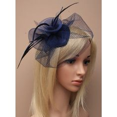 *** Navy Blue Beauty ***  Navy Blue woven teardrop fascinator base decorated with Navy Blue net, navy blue mesh rolled to form two flower both with spiky goose biots feathers coming out of the centre.  This elegant piece can be worn for so many different occasions...Bridal Hat / Headdress, Mother of the Bride / Groom, Wedding guests, Christenings, Baptisms, Church Hat, The Races, Derby Day, Balls, Parties, Opera......  The fascinator base measures 4.5 L x 3.5 W / 11.4cm L x 8.8...