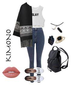 """Kimono"" by ega24 ❤ liked on Polyvore featuring Topshop, Karl Lagerfeld, Blue Nile, Lime Crime and kimonos"