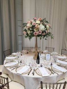 Wedding Decorations Elegant Gold Rose Floral Arrangements 55 Ideas For 2019 Wedding Reception Flowers, Wedding Reception Centerpieces, Wedding Table Centerpieces, Floral Wedding, Wedding Decorations, Tall Flower Centerpieces, Wedding Ideas, Dusty Pink Weddings, Floral Arrangements