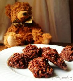 Quirky Cooking: Chocolate No-Bake Cookies. Didnt go hard. Egg Free Recipes, Whole Food Recipes, Cooking Recipes, Gf Recipes, Sweet Recipes, Chocolate No Bake Cookies, Chocolate Biscuits, Chocolate Macaroons, Nut Free
