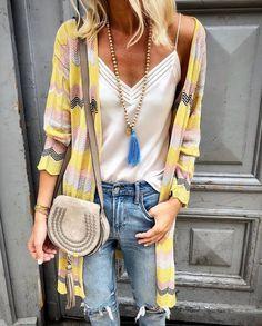 Women Spring Fashion With Necklaces That Look More Style Spring Fashion Outfits, Trendy Outfits, Summer Outfits, Moda Fashion, Womens Fashion, Fashion Fashion, Look Boho Chic, Estilo Tropical, Pinterest Fashion