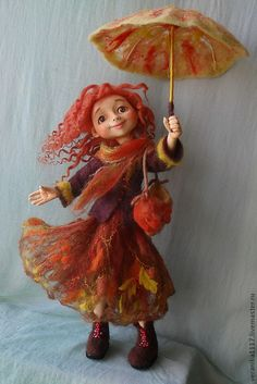 """Fair Masters - Hand made Dolls """"Fall-haired girlfriend"""" . Arte Country, 3d Figures, Marionette, Felt Fairy, Creepy Dolls, Fairy Art, Fairy Dolls, Felt Toys, Soft Dolls"""