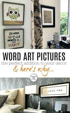 Word art pictures - there are loads of reasons to use word art in your home, and I've given tips and ideas to help you - along with 21 pictures for inspiration. Home Decor Inspiration, Design Inspiration, Word Art, Homemaking, Home Organization, Art Pictures, Decorating Tips, Gallery Wall, Room Decor