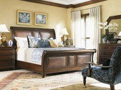 """Landara"" Palmera Sleigh Bed, King - Tommy Bahama Home, Lexington Home Brands"