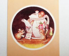 Cute Racey Helps vintage Postcard, titled Teapot to Let, published by the Medici Society, probably dating for the 1970s - 1980s.  The lovely