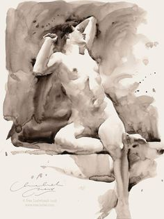 Ⓜ ♦/ Ewa Ludwiczak Female Drawing, Female Art, Figure Sketching, Figure Drawing, Watercolor Portraits, Watercolor Paintings, Watercolors, Figure Painting, Painting & Drawing