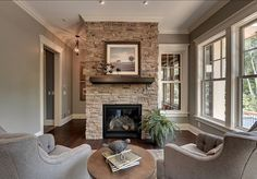 Like wall color with stack stone Gray Stacked Stone Fireplace With Black Hearth Design Ideas, Pictures, Remodel, and Decor - page 2 Home Fireplace, Fireplace Remodel, Fireplace Design, Fireplace Stone, Fireplace Ideas, Stacked Stone Fireplaces, Rock Fireplaces, Living Room Remodel, Home Living Room