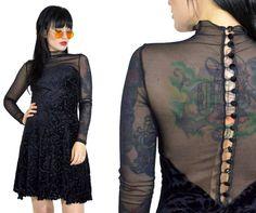 vintage 90s gothic mini dress sheer mesh button up velvet burnout mini dress glam victorian PEEP grunge vamp black velvet mock neck small