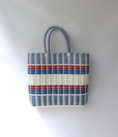 Vintage mid century red white and blue plastic woven by evaelena, $45.00