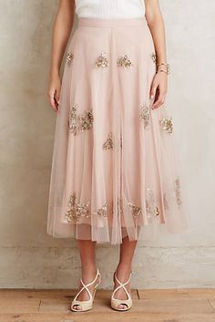 Embellished Tulle Midi Skirt
