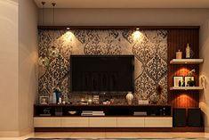 Interior Designers in Bangalore - Brigade Exotica Tv Cabinet Design Modern, Tv Unit Interior Design, Tv Unit Furniture Design, Home Interior, Tv Wall Furniture, Living Room Partition Design, Pooja Room Door Design, Living Room Tv Unit Designs, Home Room Design