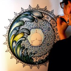 A commissioned piece by Volvo Ocean race, inspired by Abu Dhabi.   #islamicart #mandala #abudhabi #volvo #oceanrace #artcommissions
