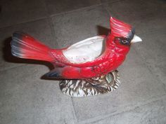 "Vintage RELPO Cardinal Bird Planter #6338 7"" tall 8"" long Estate Sale Find"