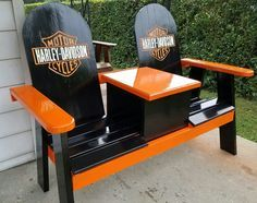 Harley bench with a cooler.