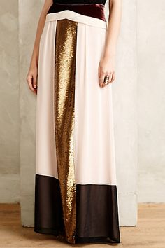 sequin blocked maxi skirt