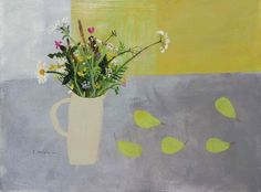 Molly's Pears and Flowers that Make the Heart Sing by Elaine Pamphilon   Mixed media on canvas   60 x 80 cm #elainepamphilon #tannerandlawson #stilllife