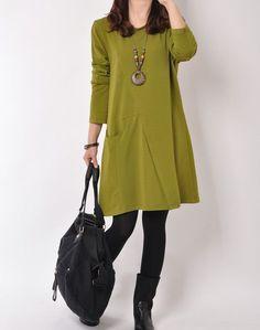 Green cotton dress long sleeve dress casual loose dress cotton shirt large size cotton blouse plus size dress / 3 colors