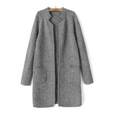 SheIn(sheinside) Grey Stand Collar Long Sleeve Knit Cardigan (720 UAH) ❤ liked on Polyvore featuring tops, cardigans, jackets, outerwear, grey, grey knit cardigan, long sleeve knit tops, long tops, long grey cardigan and long knit cardigan