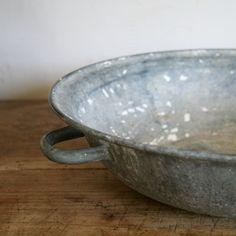 Antique Zinc Farm Bowl    www.SundayBrocantes.com