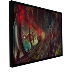 'Cats in Space 2' by Luis Peres Framed Graphic Art on Wrapped Canvas