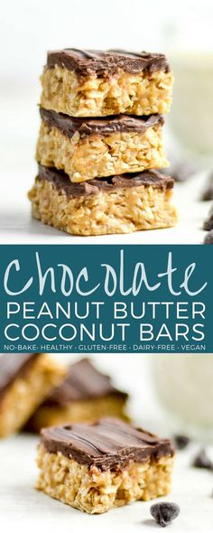No-Bake Chocolate Peanut Butter Coconut Bars are the ultimate, easy, no-bake healthy dessert or snack! No-Bake Chocolate Peanut Butter Coconut Bars are the ultimate, easy, no-bake healthy dessert or snack! Sugar Free Desserts, Gluten Free Desserts, Vegan Desserts, Delicious Desserts, Dessert Recipes, Healthier Desserts, Coconut Peanut Butter, Coconut Bars, Peanut Butter Recipes