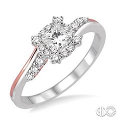 1/3 Ctw Diamond Engagement Ring with 1/6 Ct Princess Cut Center Stone in 14K White and Rose/Pink Gold