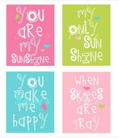8X10 You Are My Sunshine Baby Girl Nursery Art Prints in Pink Green and Yellow