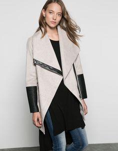 Bershka wool coat with imitation leather detail - Coats & Jackets - Bershka Turkey