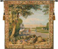 Woven in France History: Versailles Carr?e, or Versailles Square, is a jacquard wall tapestry. It's foreground is a reproduction of a renowned Gobelins' tapestr
