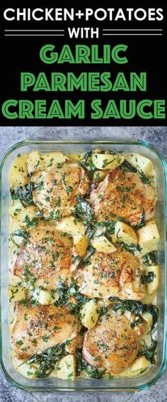 Chicken and Potatoes with Garlic Parmesan Cream Sauce - Damn Delicious