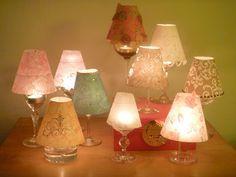 variety of wine glass lamp shades Hallmark Homes, Wine Glass Crafts, Modern Light Fixtures, Modern Lighting, Idee Diy, Unique Lamps, Lamp Shades, Decoration, Tea Lights