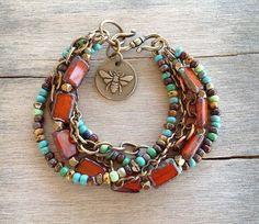 Bracelet Orange Rust Czech Glass Beads