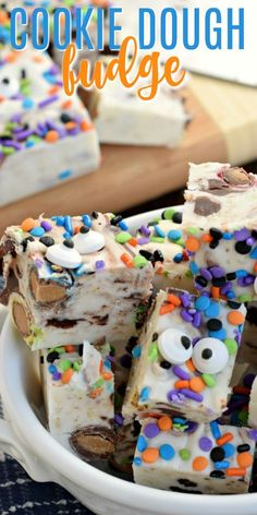 Try making this fun, delicious Monster Cookie Dough Fudge for Halloween this year! Candy eyeballs add an extra spooky touch to fudge filled with M&Ms and peanut butter flavor! Monster Cookie Dough, Cookie Dough Fudge, Cookie Dough Recipes, Fudge Recipes, Best Dessert Recipes, Fun Desserts, Baking Recipes, Holiday Recipes, Delicious Desserts