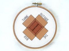 """Creative cross stitch: """"Think Outside The Box"""", PDF pattern, instant download, motivational embroidery, uplifting needlepoint"""