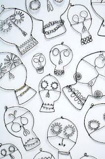 Lovely wire skulls from Robin Romain of Rawbone Studio